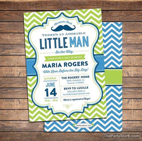 Little Man Baby Shower Invitation Mustache