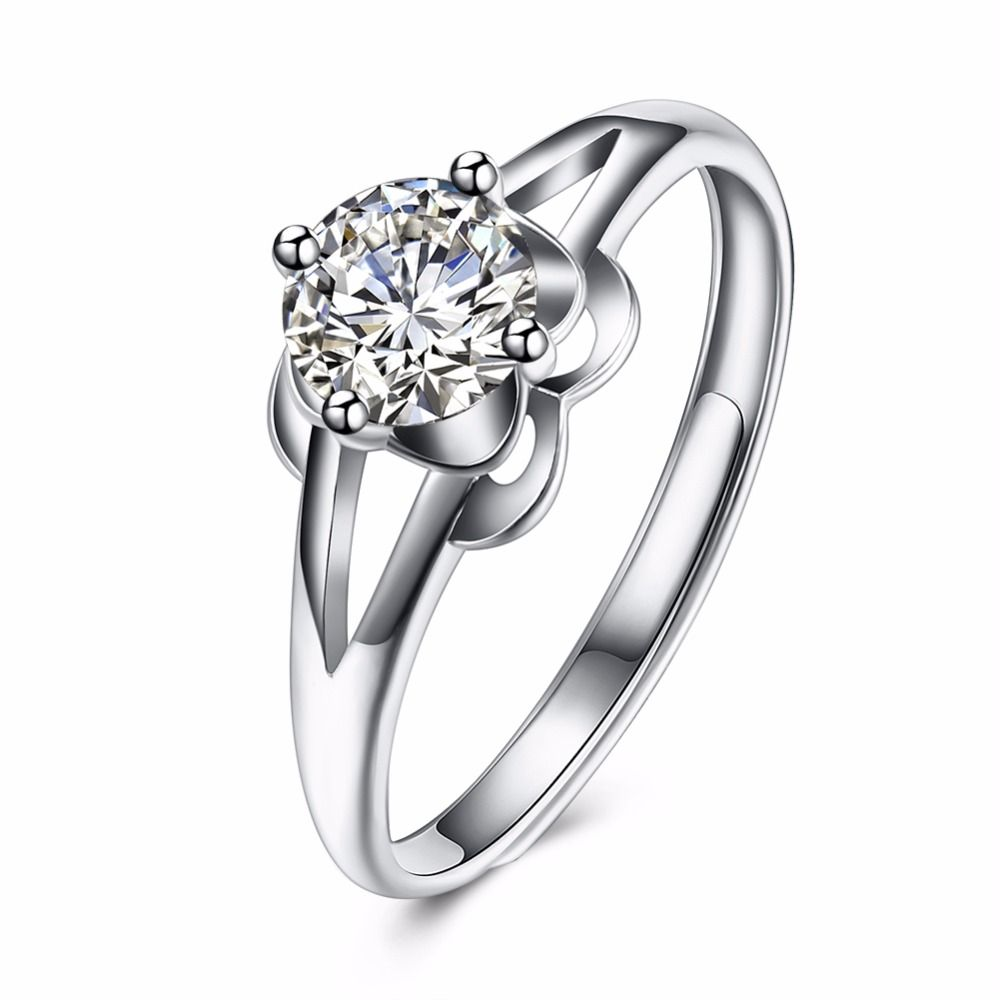 Simple Ring CZ Clear 925 Sterling Silver Women Trendy Jewelry Wedding Engagement