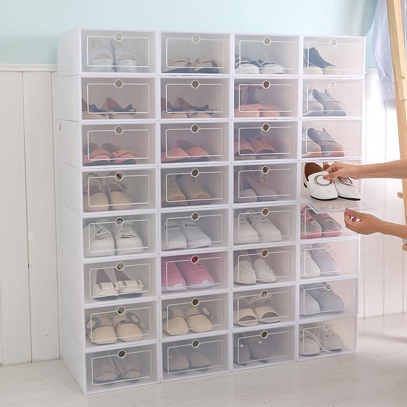 10//12PCS Plastic Shoe Boxes Drawer Stackable Foldable Shoe Storage Organiser
