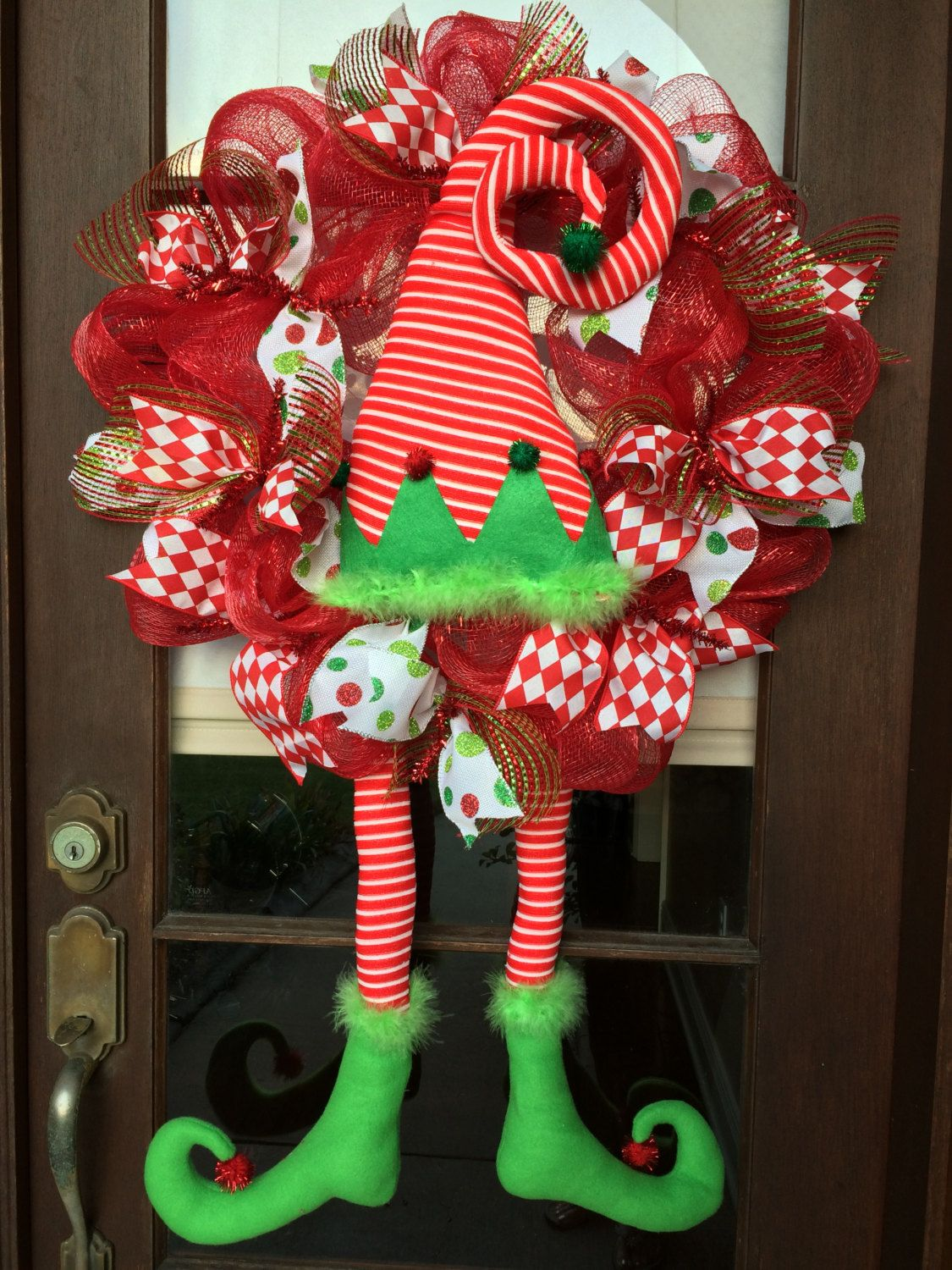 Christmas holiday wreath Elf wreath deco mesh by AnnesAdoorables on Etsy