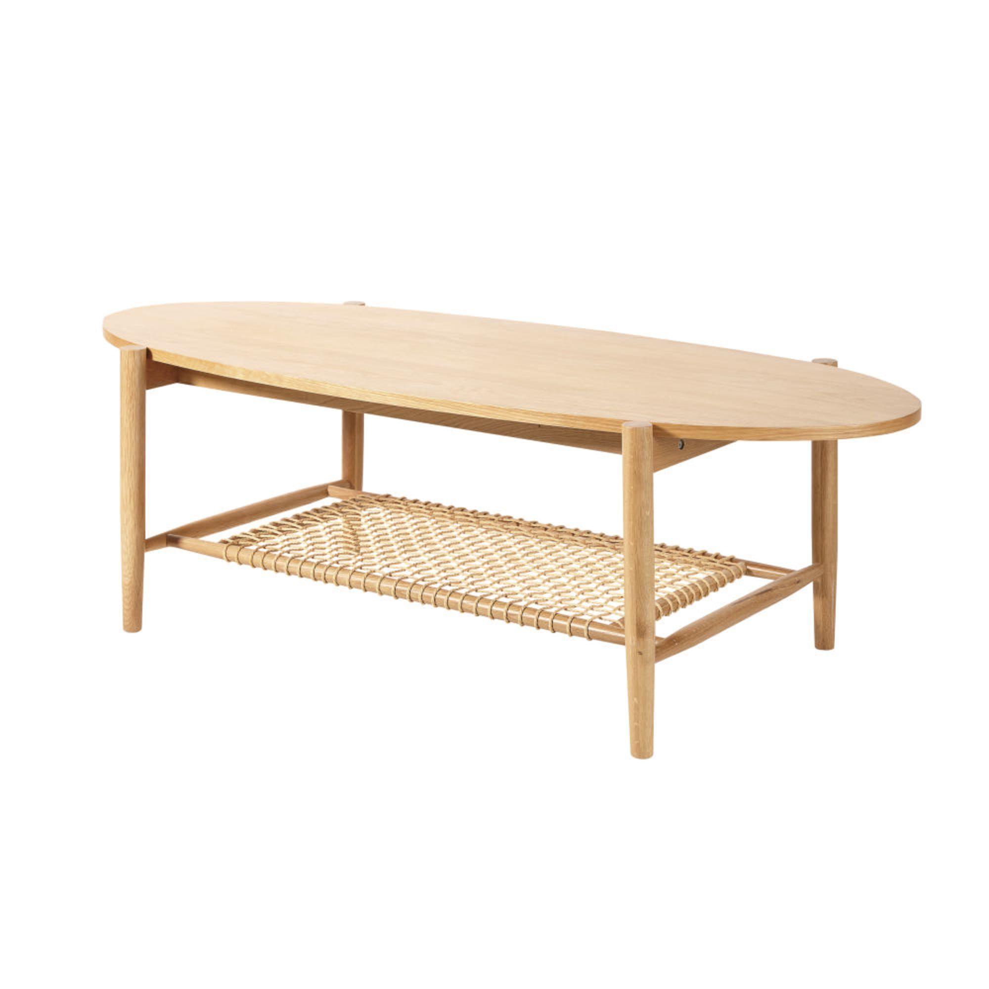 table basse ovale 2 plateaux en cordes