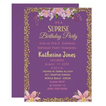 Floral Surprise Birthday Party Invitations birthday cards