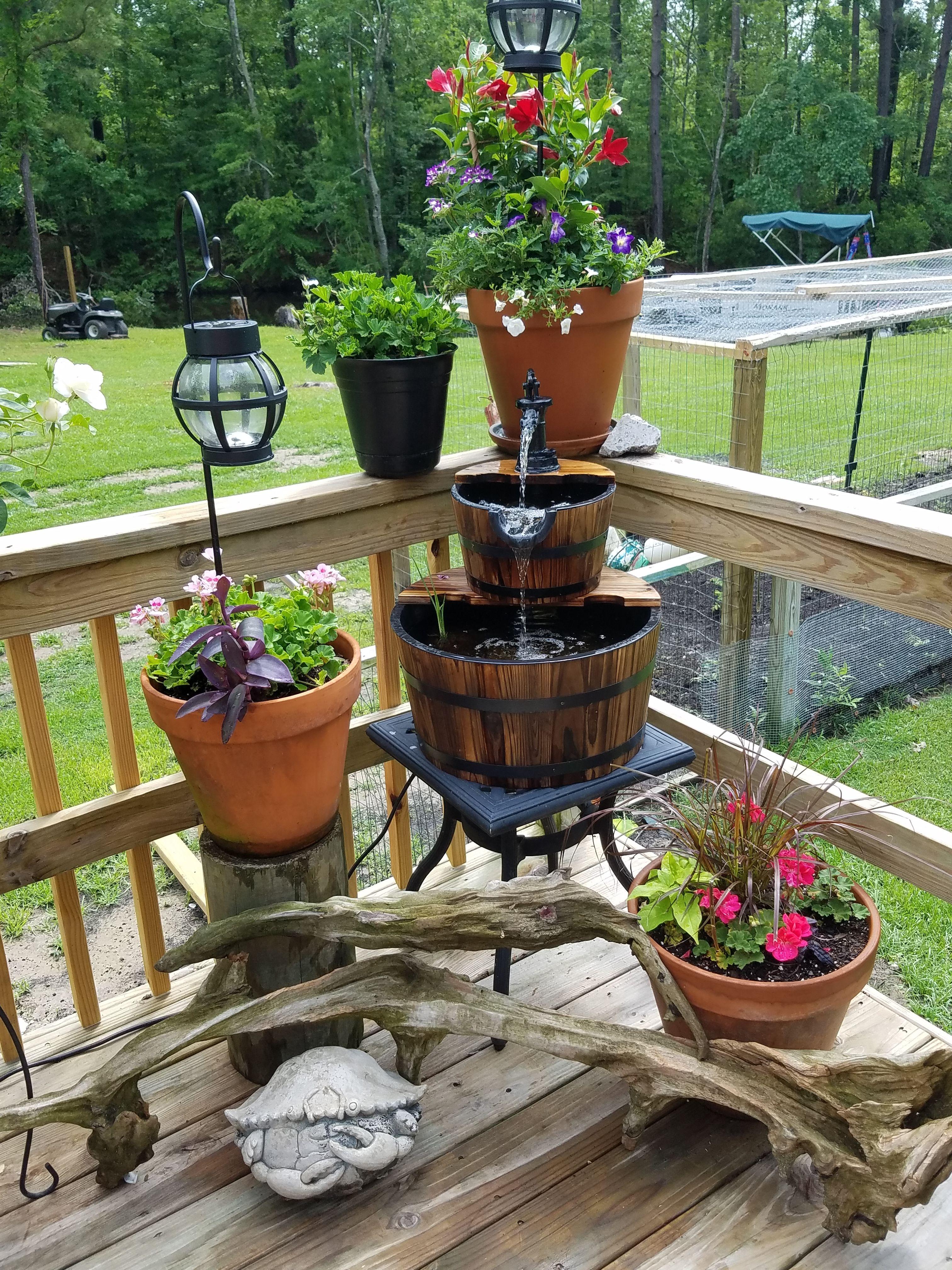 Flower pots, water fountain, deck flowers, full sun flower