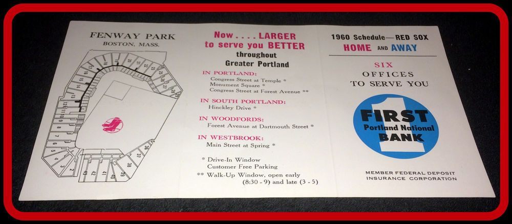 1960 Boston Red Sox First Portland Bank Baseball Pocket Schedule