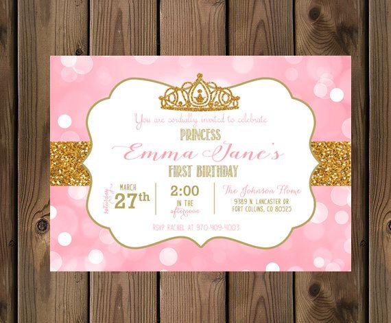 Little Princess Birthday Invitation Pink Gold Glitter 1st First Digital File 93