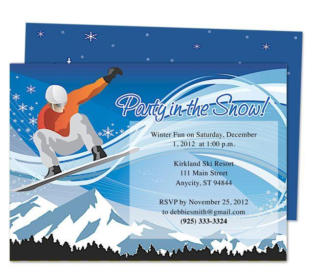Snowboard Birthday Party Invitation Templates Printable ...
