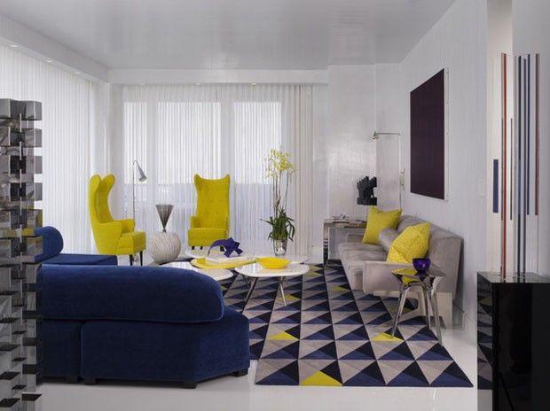 Sala De Estar Cinza Azul E Amarelo ~  de imagem para decoração em azul, cinza, branco e toques de amarelo