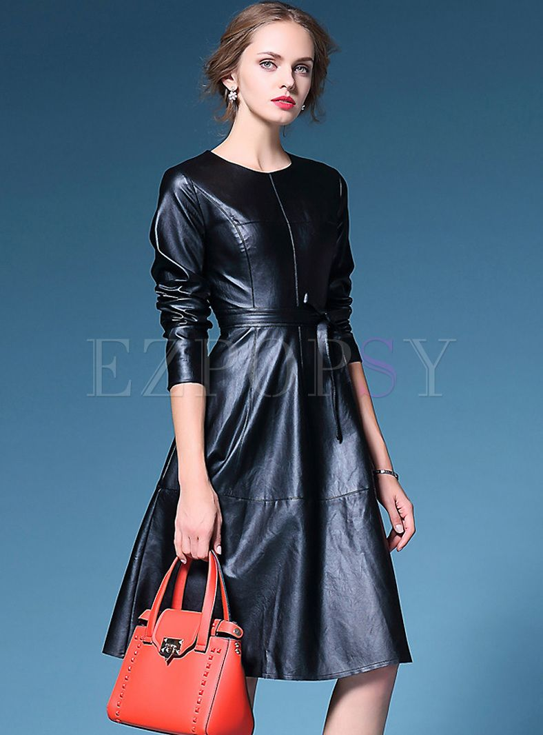 Solid Belt Patchwork Leather Skater Dress   Dress online, Patchwork ...