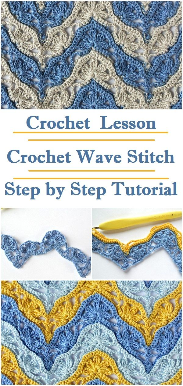 Crochet Wave Stitch #crochetstitches