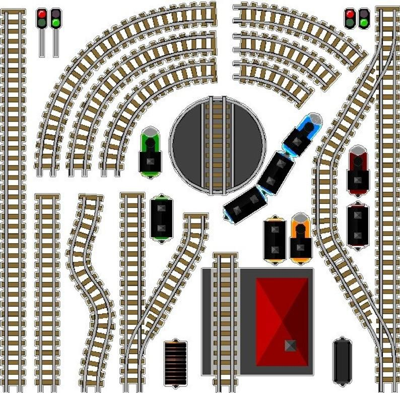 Peel And Stick Train Track Decal Removable Train Track Wall Etsy Paper Train Removable Train Model Trains