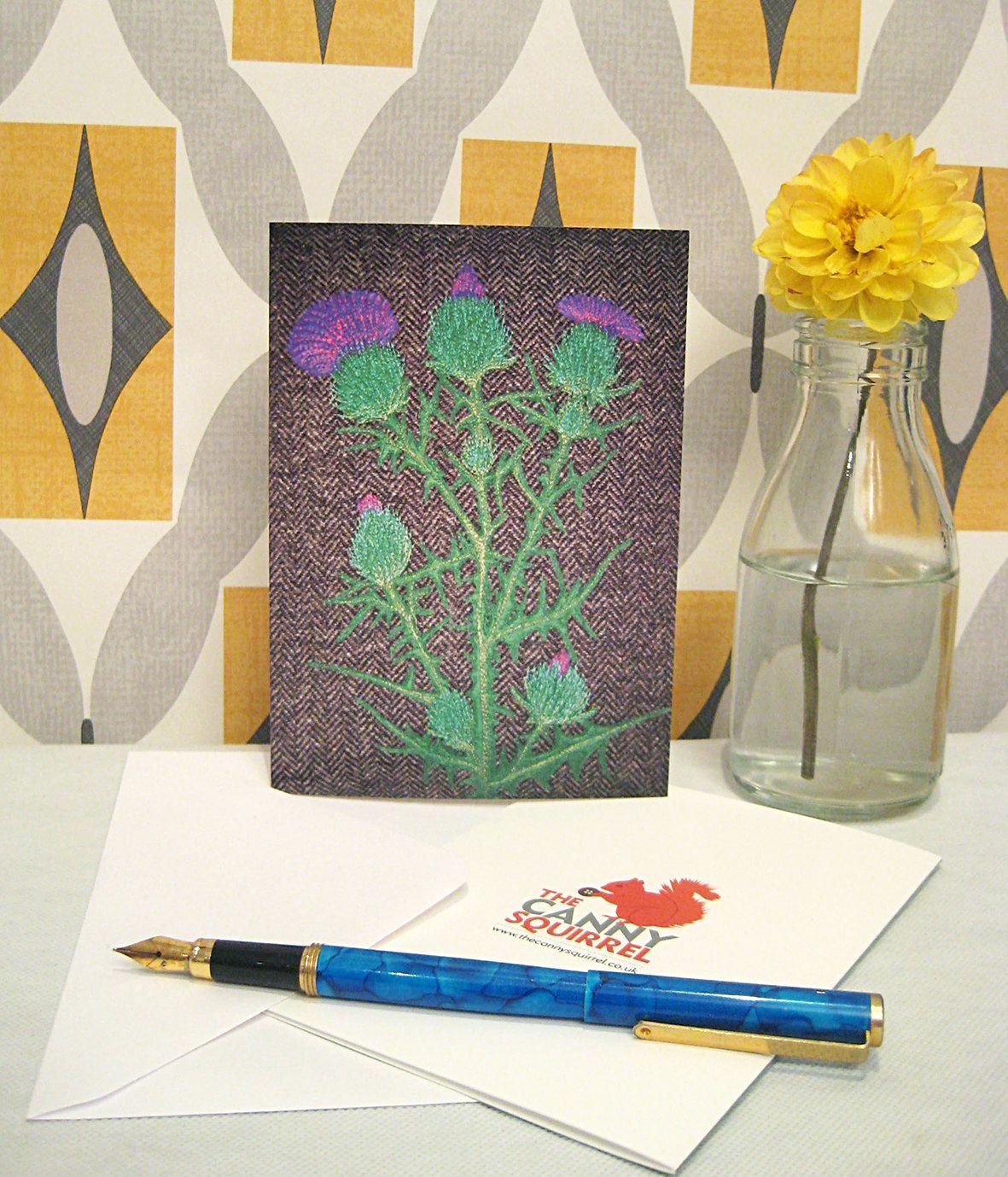 Thistle Card Birthday Card Greetings Card Blank Card Scottish