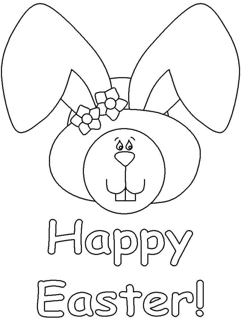 Happy Easter Bunny Coloring Page Gambar