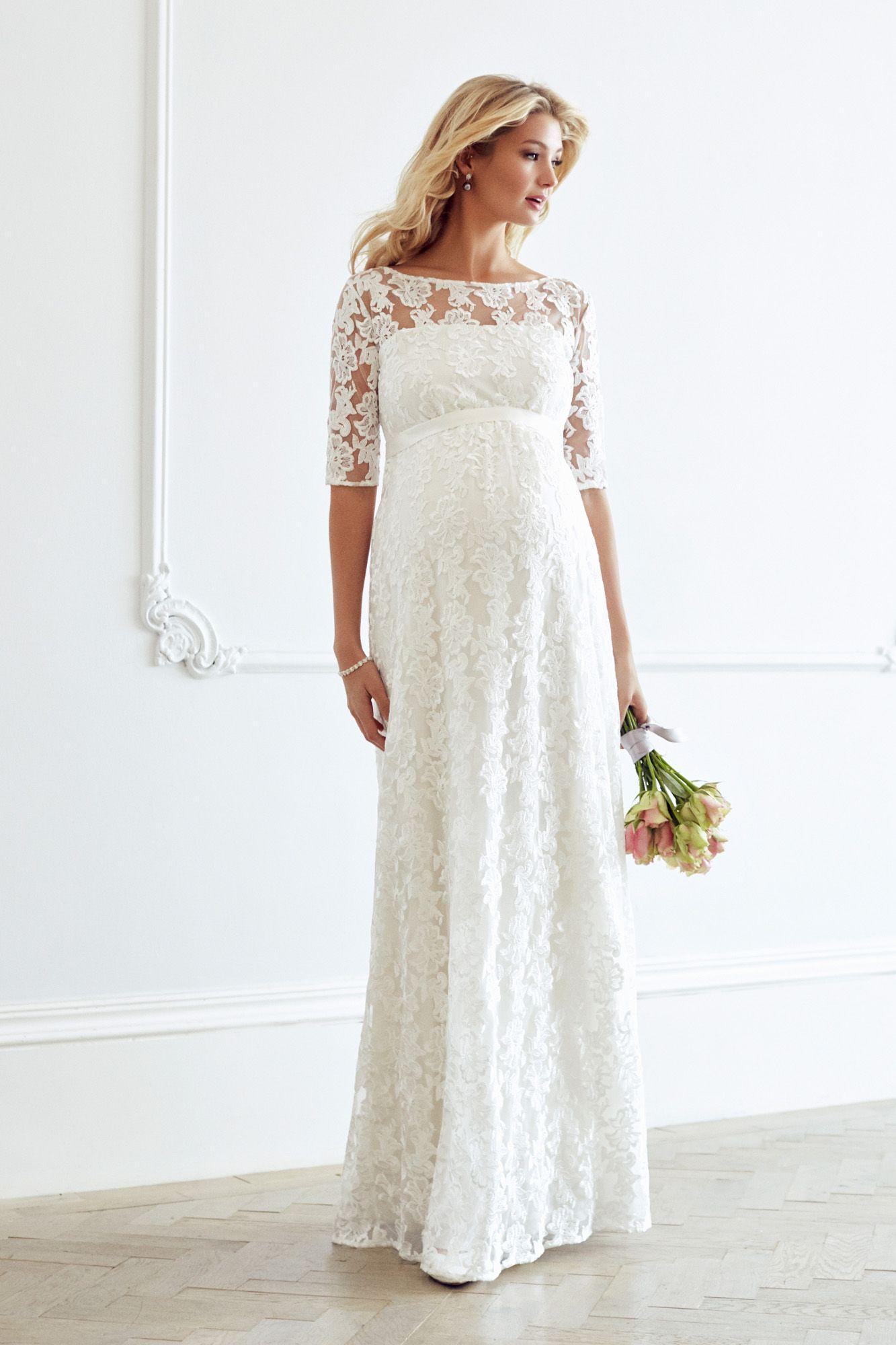 Langes Brautkleid von Tiffany Rose in 17  Umstandskleid