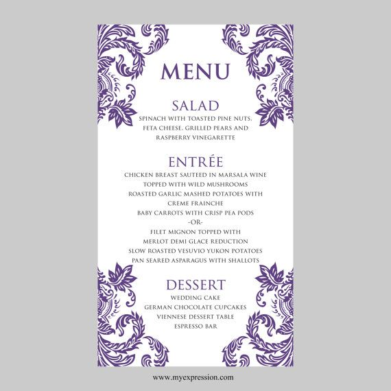 Wedding Menu Card Template u2013 Purple Damask - Instant Download - ms word menu template