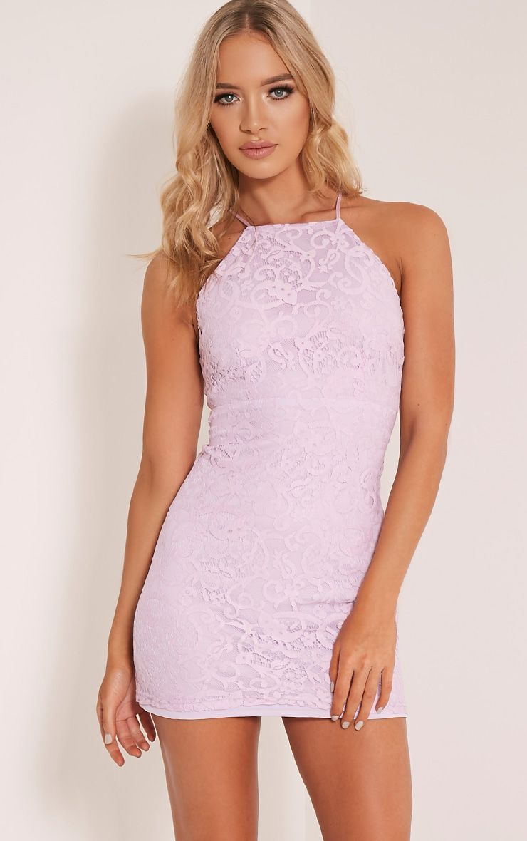 Elora Lilac Cross Back Lace Mini Dress - Dresses - PrettylittleThing ...
