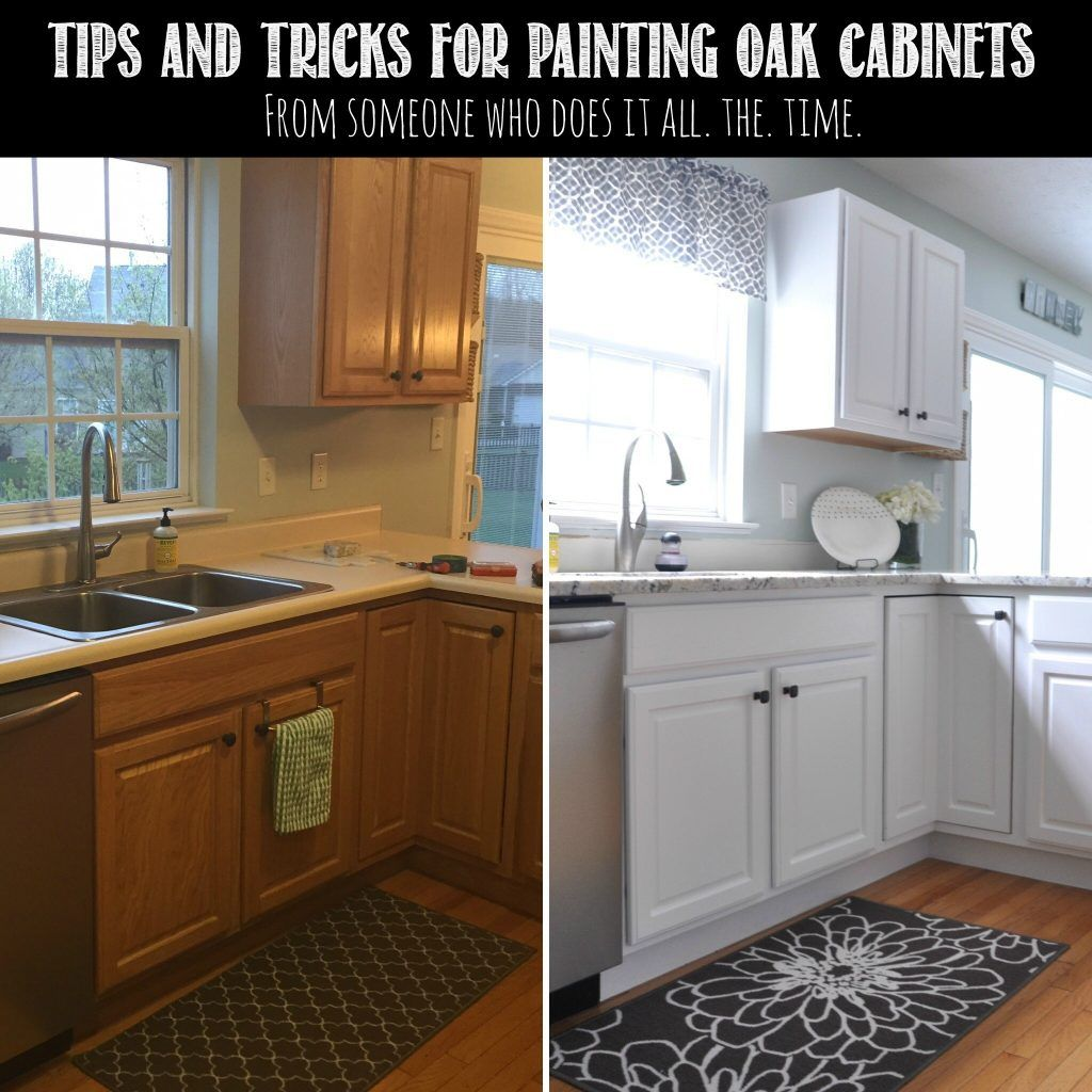 Tips tricks for painting oak cabinets painted oak for Painting wood cabinets white before and after