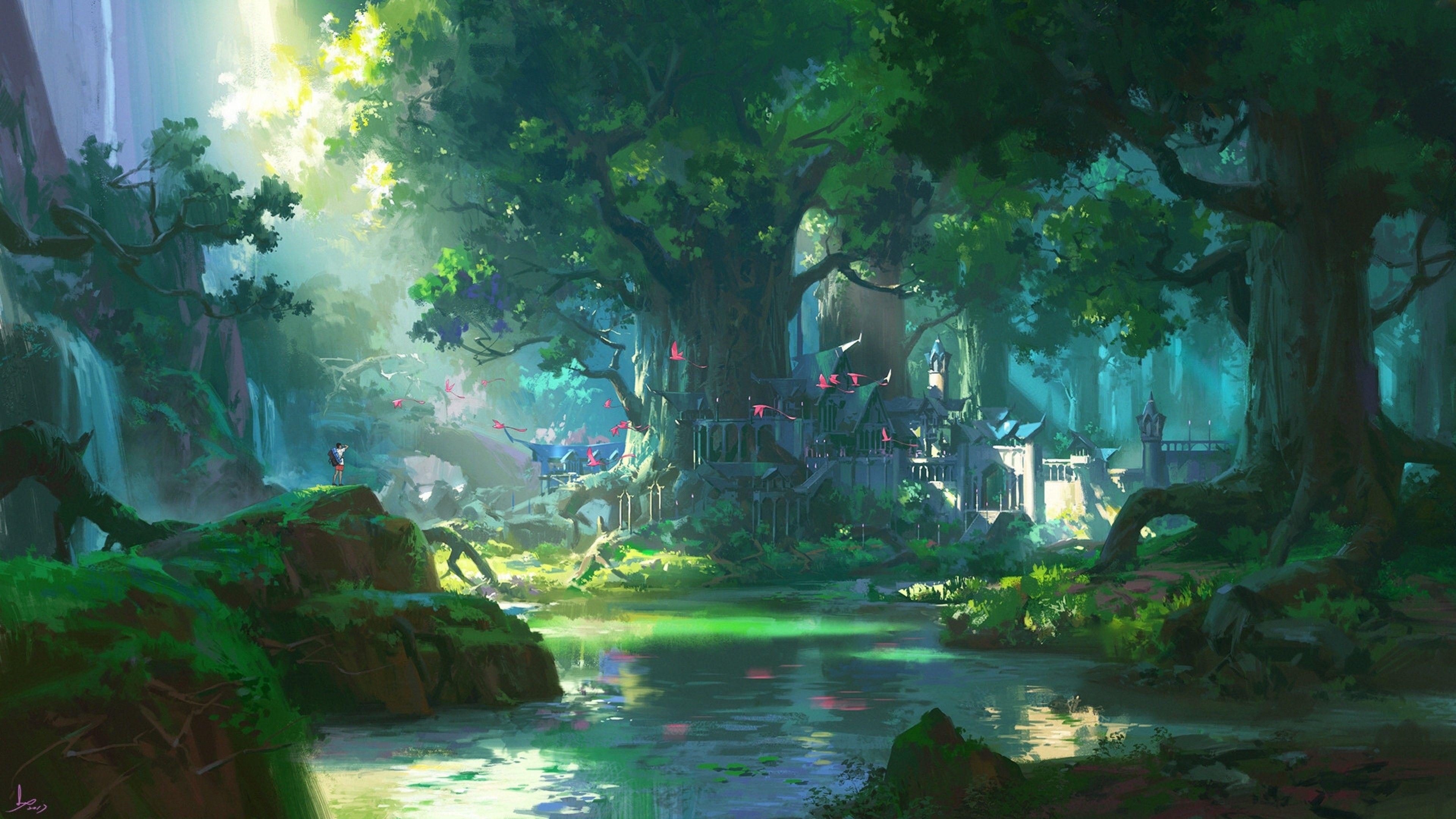 Anime Forest Scenery Wallpaper Hdwallpaper Wallpaper Image Digital Art Fantasy Scenery Wallpaper Anime Scenery Wallpaper