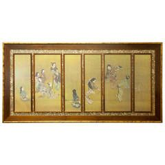 Japanese Six Panel Framed Wall Screen with Geisha Dancers