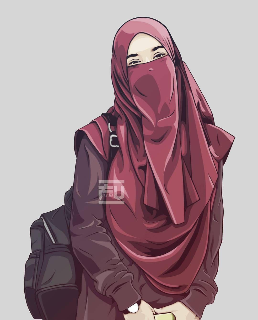 Gambar Kartun Muslimah 1 Orang