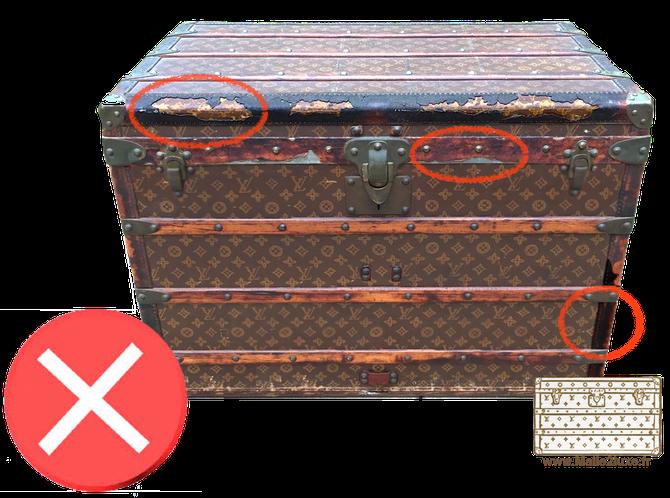 guide d 39 achat malle de luxe restauration trunk malle ancienne louis vuitton goyard moynat cuir. Black Bedroom Furniture Sets. Home Design Ideas