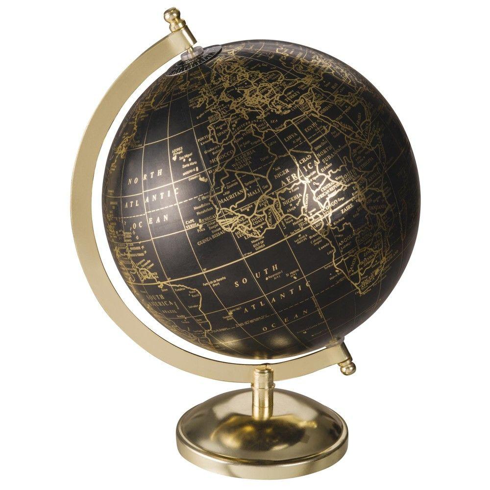globe terrestre carte du monde noir et dor int rieurs. Black Bedroom Furniture Sets. Home Design Ideas