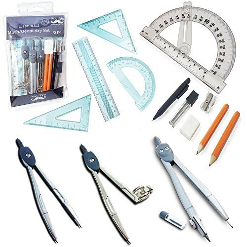 """Mr. Pen- 15 Pcs Compass Set with Swing Arm Protractor (6""""..."""
