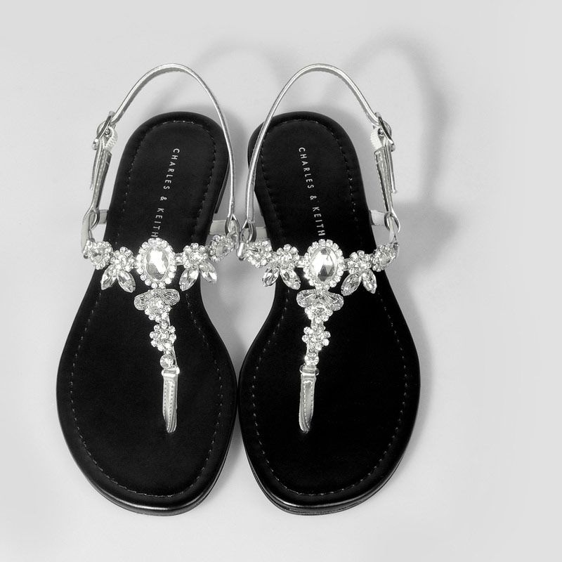 Bejewelled Flat Sandals Silver Flats Shoes Charles