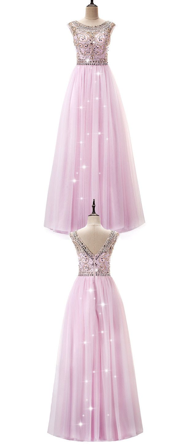 Amazing Tulle Bateau Neckline A-Line Prom Dress With Beadings | 15 ...