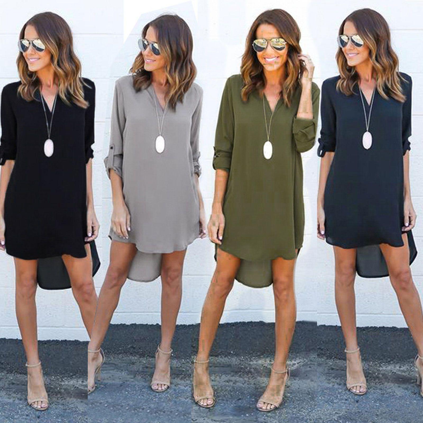 63193a16c0ef Womens Blouse Chiffon Long Sleeve Shirt Casual V Neck Loose Top Dress Plus  Size