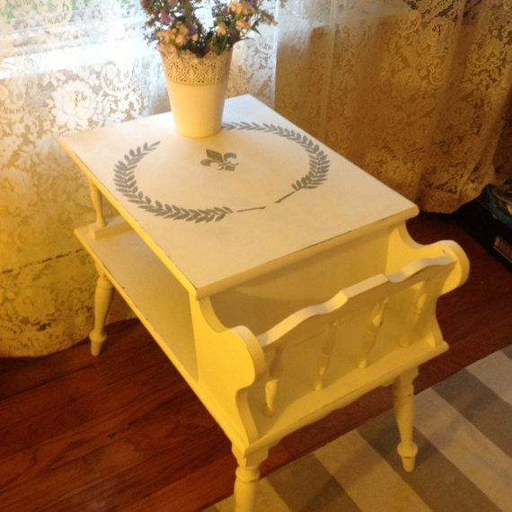 Vintage Table Wood End Table Coffee Table Painted End Table