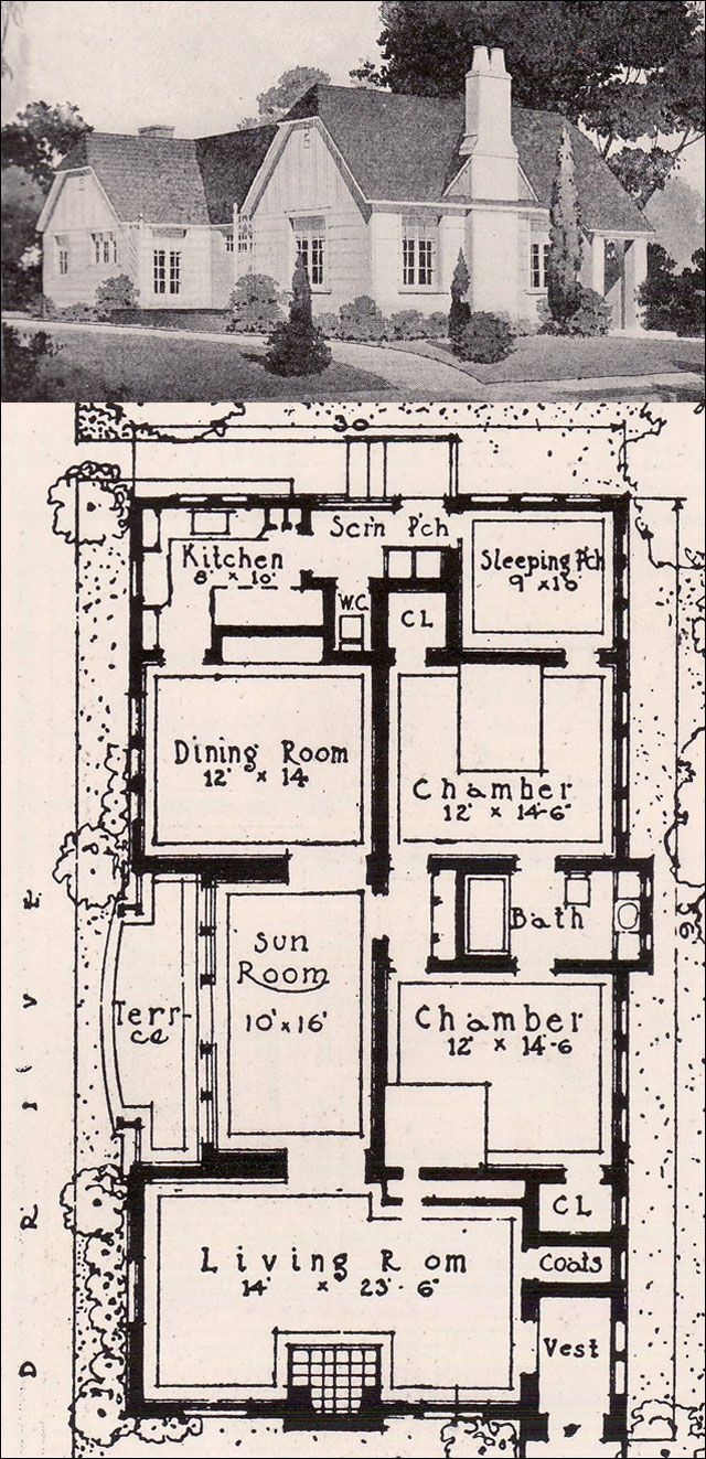 Design 3 - 1916 Ideal Homes in Garden Communities cute house, but to have the guests have to go through the bed rooms to get to the bath?  ugh.