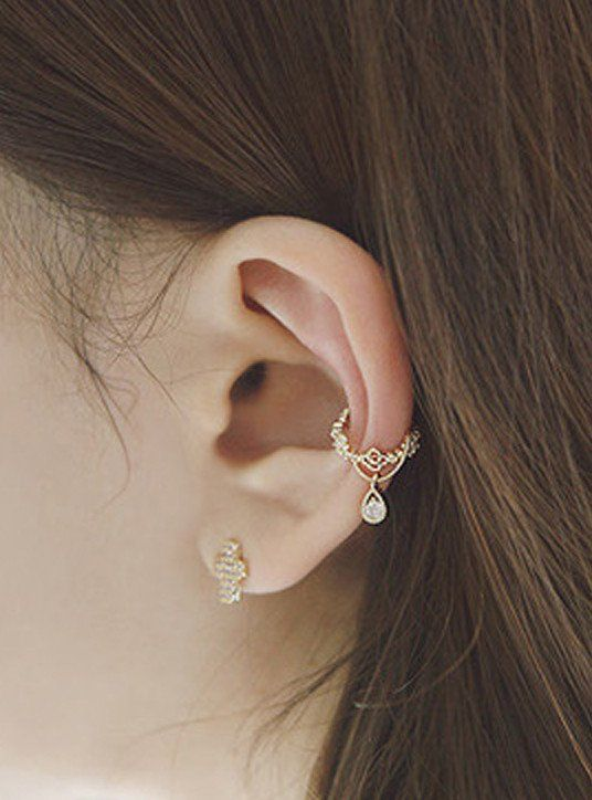 Bijou Crystal Drop Ear Cuff Earrings Ear Cuffs Cuff Earrings