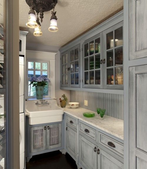 Gray And White Kitchens Cabinet Stain: Distressed Gray With Beadboard And Hints Of Gray In
