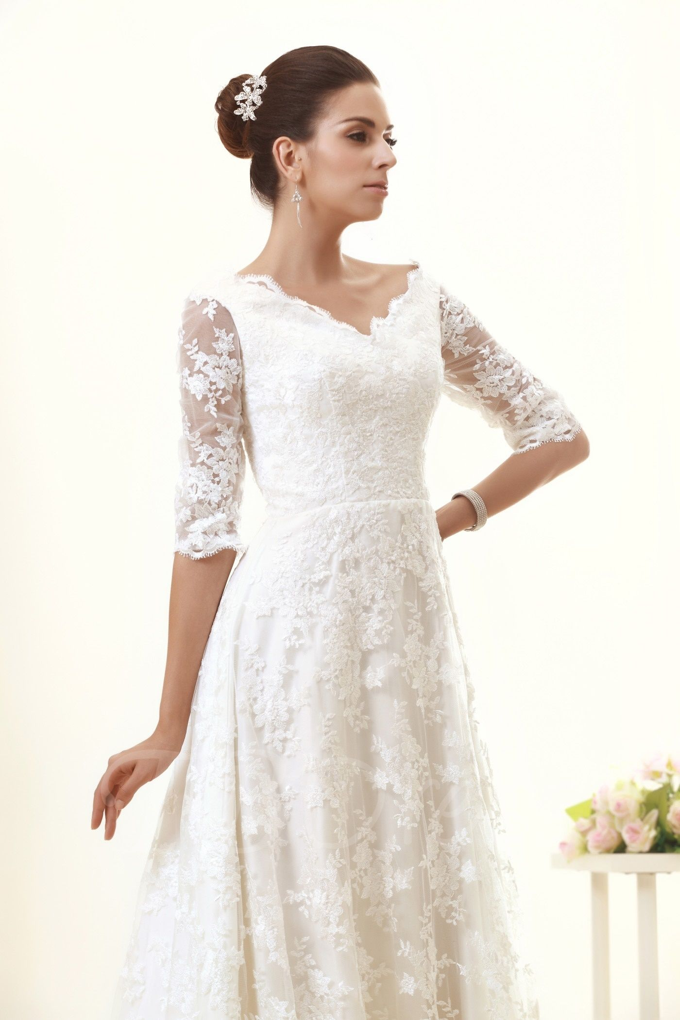 Half sleeves aline lace wedding dress lace wedding dresses lace