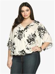 Plus Size Floral Crochet Lace Faux Wrap Top