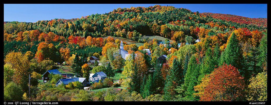 Rural Autumn Landscape East Topsham Vermont New England Usa Color Panoramic Pictures New England Vermont