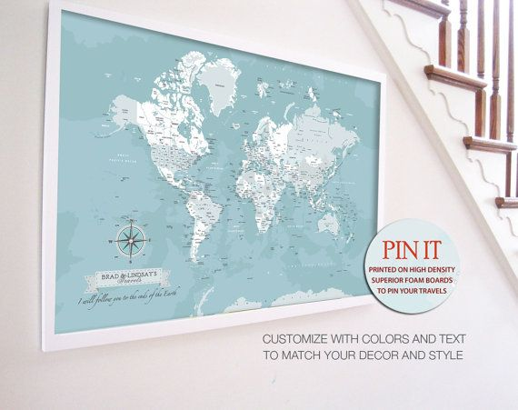 23rd Anniversary Gifts For Men: World Map, 24X36 Inches, Compass, World Travel, Honeymoon