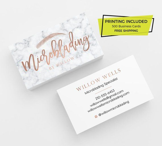 Microblading Rose Gold Business Card Design 500 Printed Etsy Rose Gold Business Card Printing Business Cards Gold Business Card
