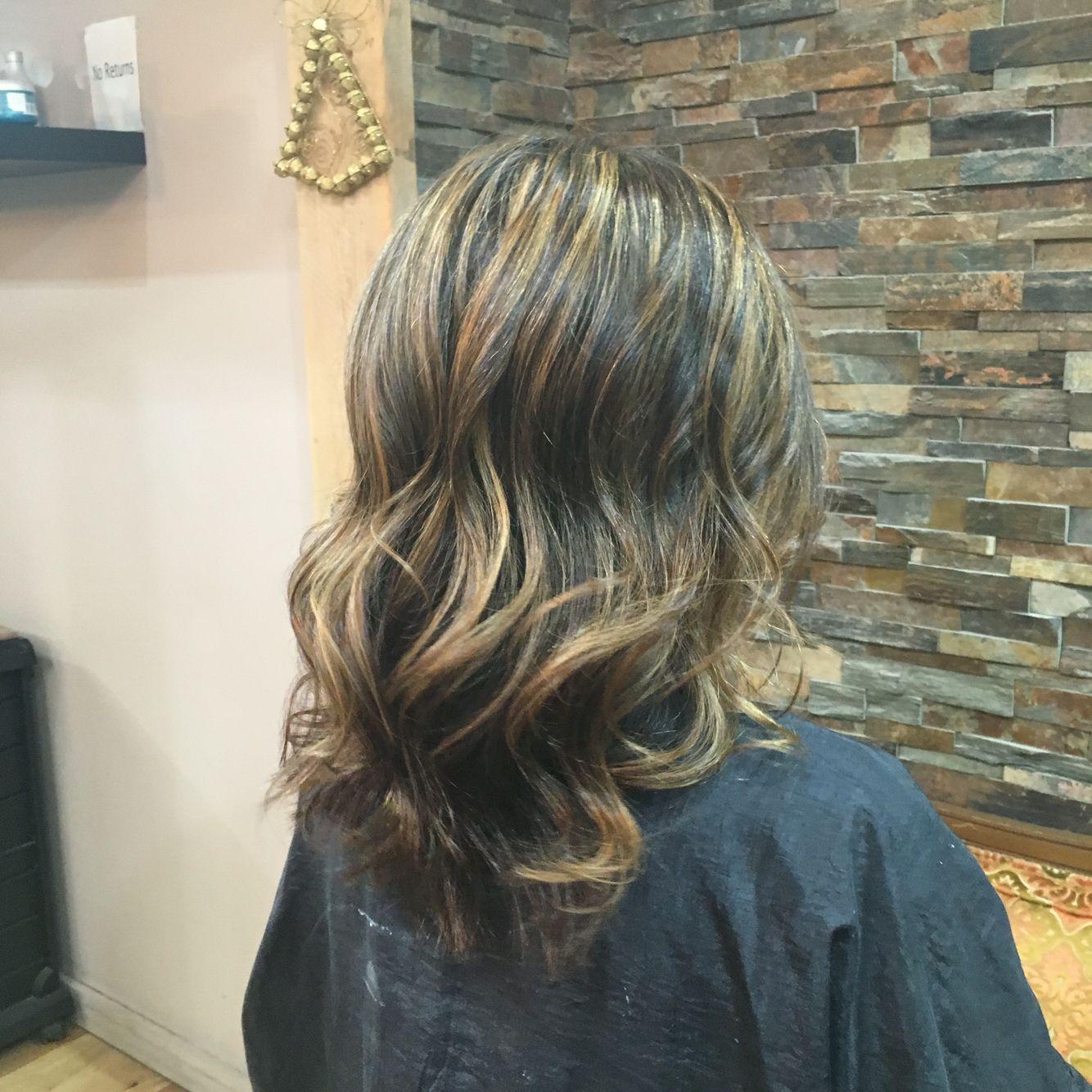 Highlights, curly hair, haircut, hair style, brunette, blond highlights