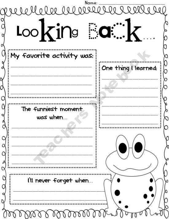 End Of School Worksheets : Looking back end of the year reflection