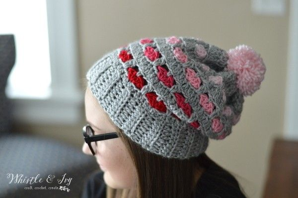 Puppy Love Heart Slouchy Slouchy Hat Heart Patterns And Sweet Hearts