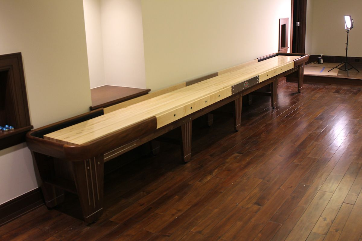 Walnut Rock Ola 22 Foot Shuffleboard Set Up In Detroit. We Had To Deliver  This