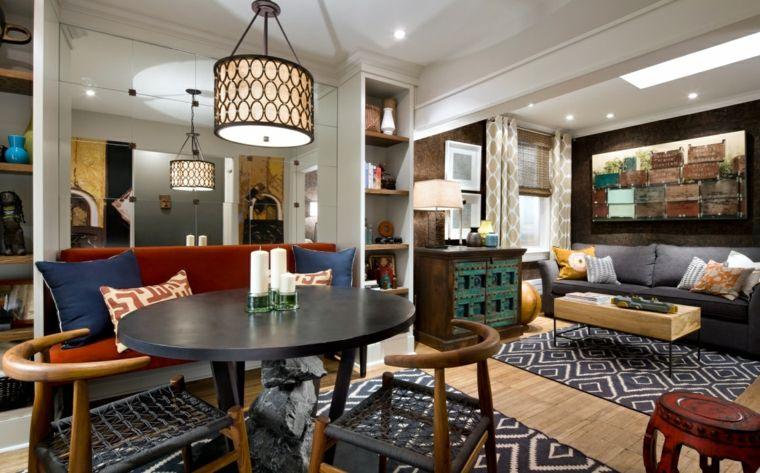 idea per arredare salotto e sala da pranzo insieme in stile indiano ...