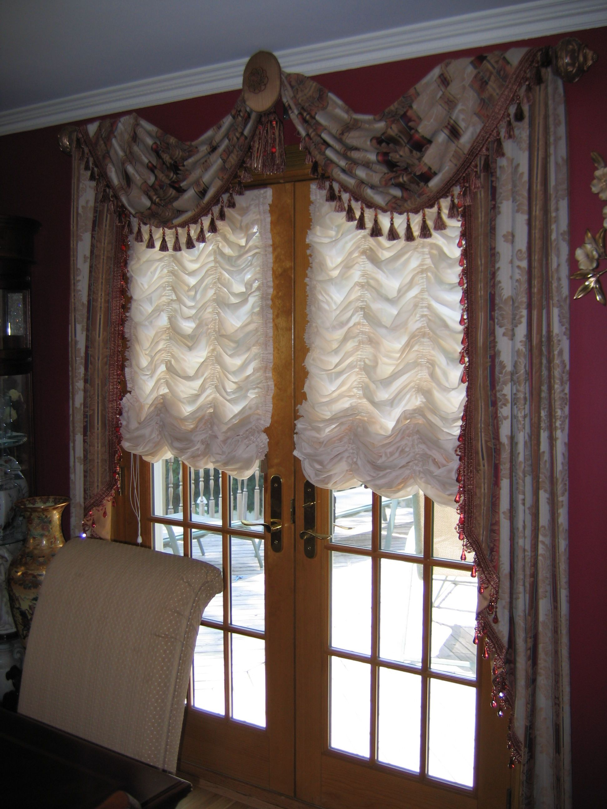 Throw Style Swags Jabots On French Doors Over Austrian Shades