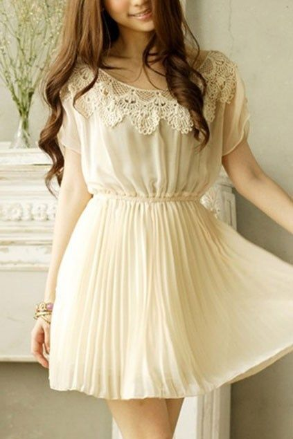 Sweet Round Lace Neckline Short Sleeve Pleated Chiffon Dress $30