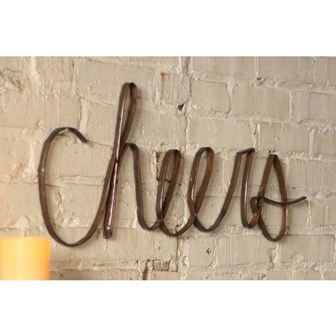 Scrap Iron Cheers Sign Bar Wall Decor Cheer Signs Metal Tree Wall Art