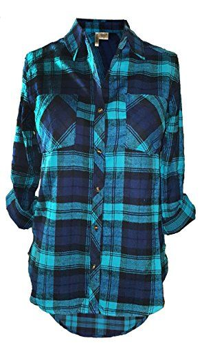b61e86c61 Women's High-Low Style Roll-Up Sleeve Plaid Flannel Shirt (Small, Turquoise