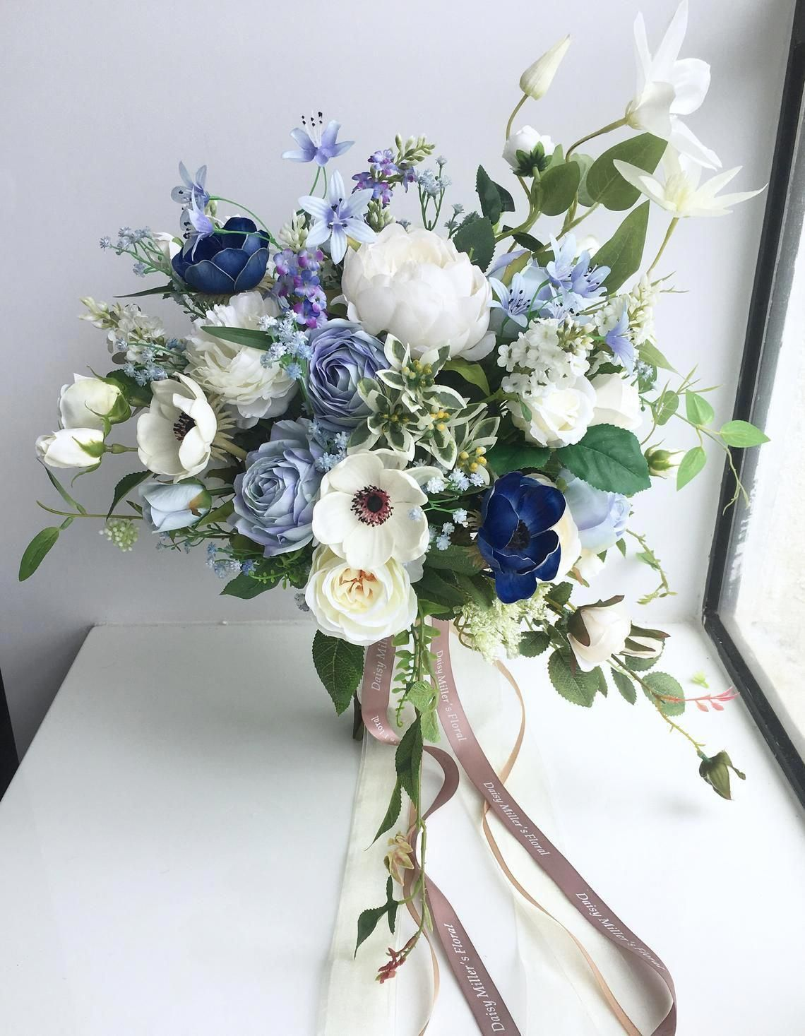 60 Roses LIGHT BLUE Silk Wedding Bouquet Flowers Bridal Centerpieces