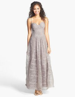 Betsey Johnson Corset Bodice Long Lace Gown