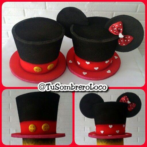 sombreros  MickeyMouse y  MinnieMouse para una  boda muy  disney  horaloca   eventosocial  fiestastematicas  bodas  cumpleaños  eventosocial ... e05fb0594c2
